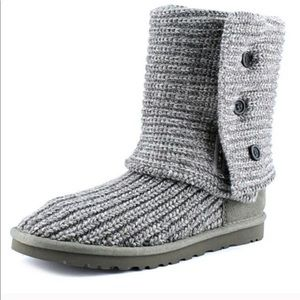 UGG Gray Classic Cardy Knit Sweater Foldover